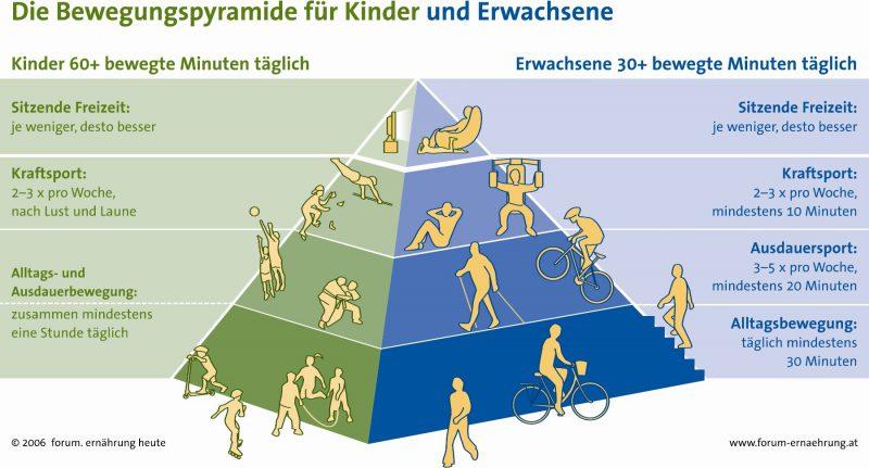 Bewegung hilft nachweislich bei der Senkung des Krebsrisikos - Die Bewegungspyramide für Kinder und Erwachsene