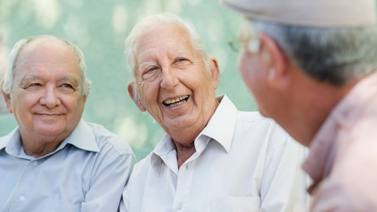 Senioren beim Gespräch im Park