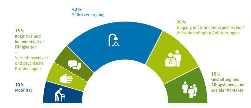 Worauf es bei der Pflege ankommt - Die Gewichtung der vom MDK geprüften Lebensbereiche