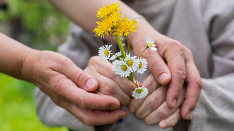 Die Symptome für Parkinson sind nicht immer eindeutig - Gepflückte Blumen in den Händen eines älteren Mannes